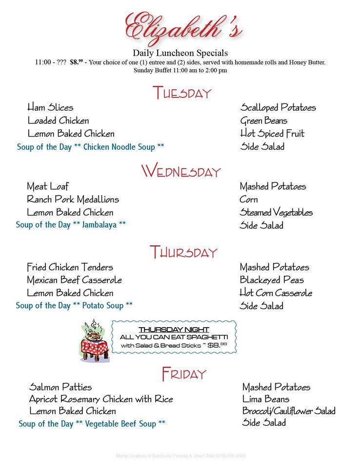 Elizabeth's menu 2015