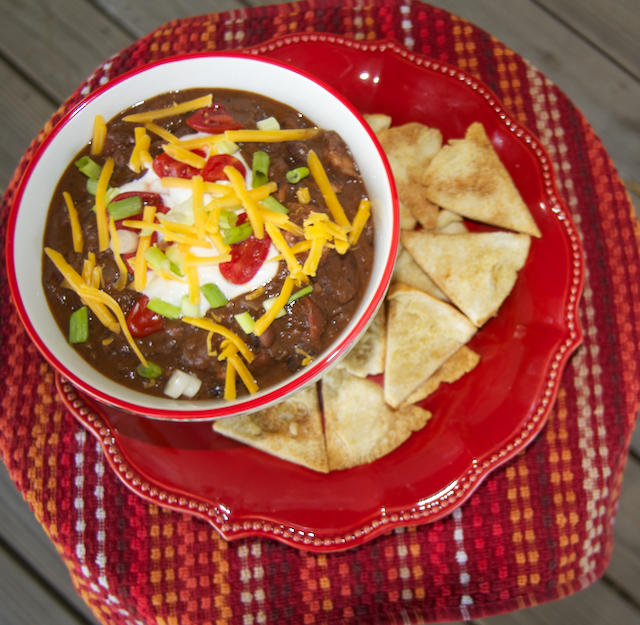 Chipotle Chicken Chili made with Bush's Hummus Made Easy